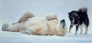 polar bears and husky